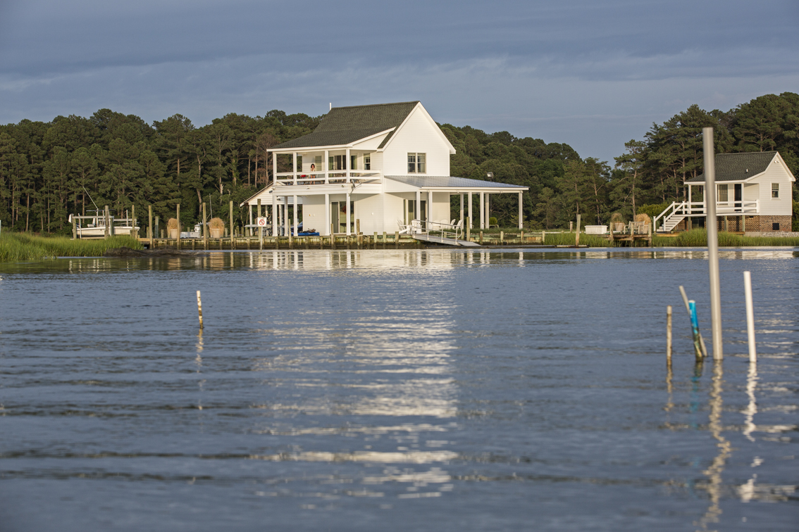 The front of the house from the water.
