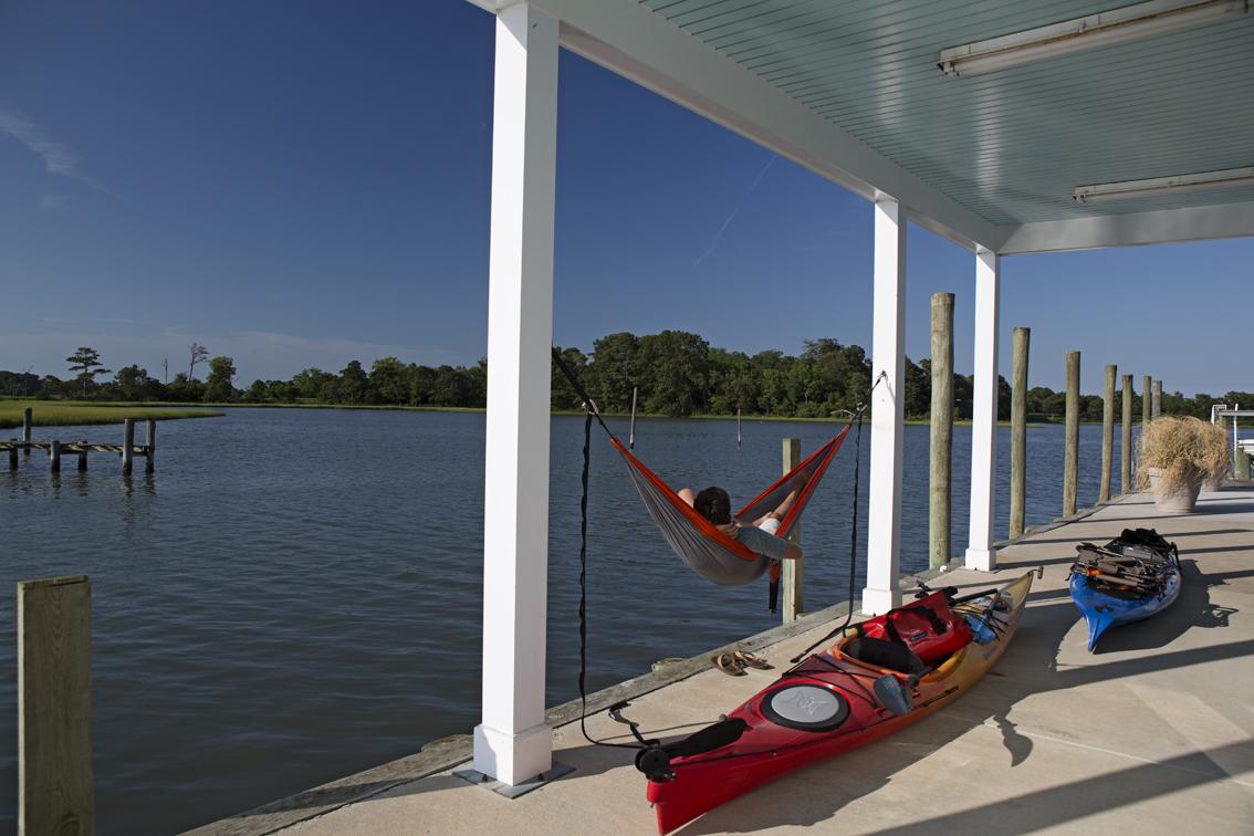 Perfect hammock spot, under the deck.