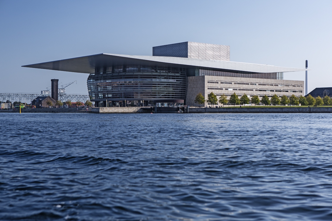 The Royal Danish Opera house, as seen from the kayak tour, was completed in 2004.  Check out how RedBull uses this building.