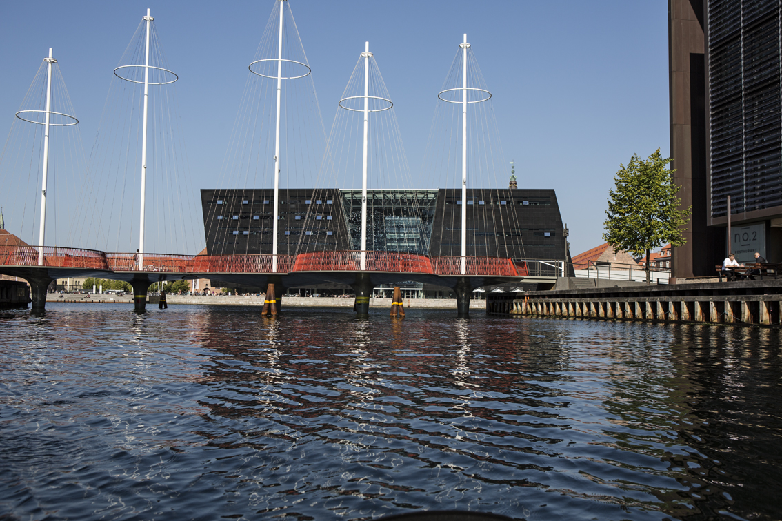 The National Library and the cirkelbroen bridge, which rotates to open up and allow tall ships to pass.