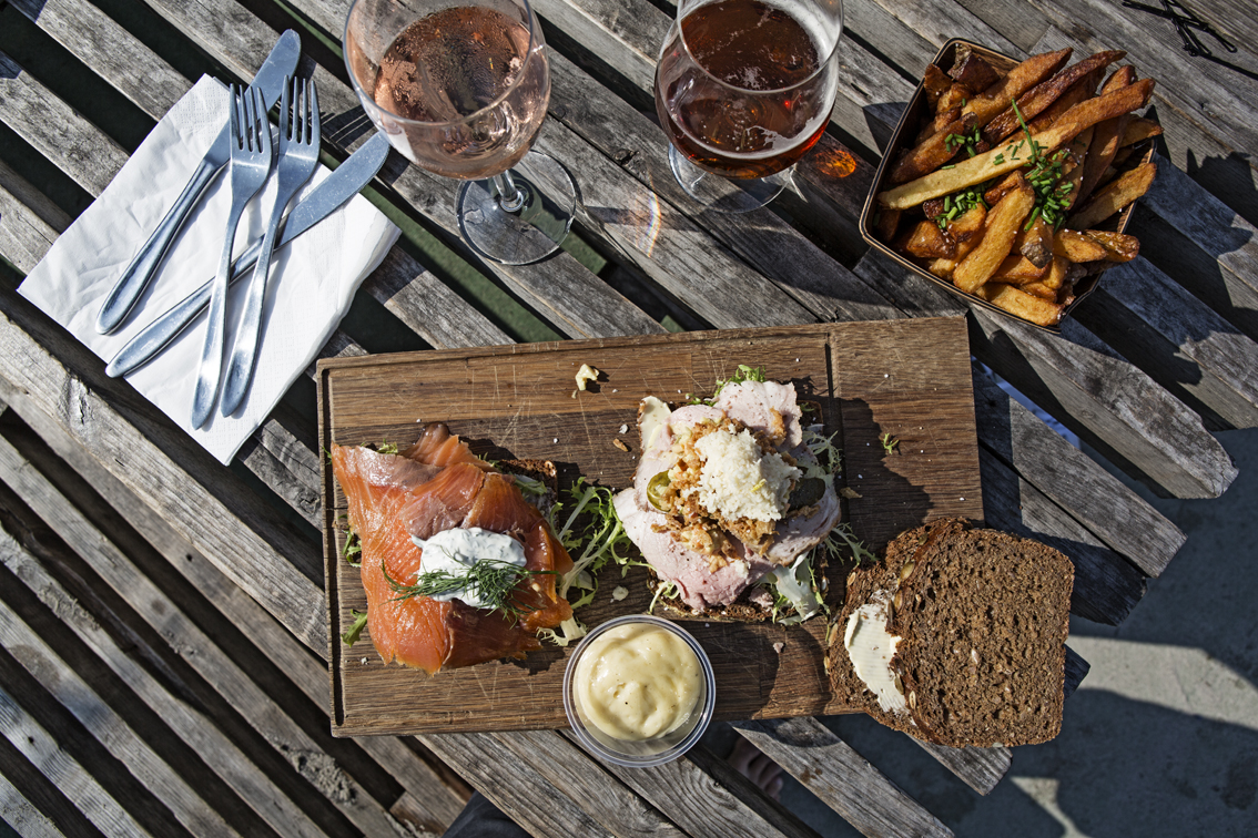Danish smorrebrod. Open face sandwiches from Kayak Bar - they were delicious. Sloane got salmon and I got roast beef.