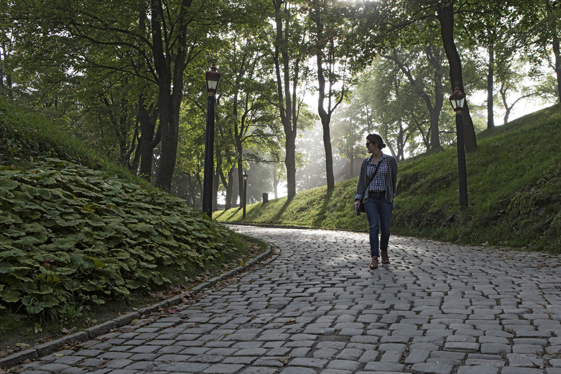 Sloane on a foggy path in the Akershus Fortress.
