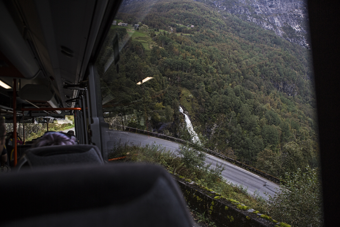 Coming up on a hairpin bend, at close to a 20% grade. Sivelfossen waterfall in the background.
