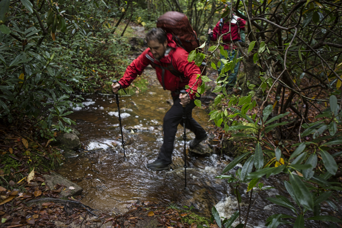 Crossing one of the many creeks on our second day of hiking.