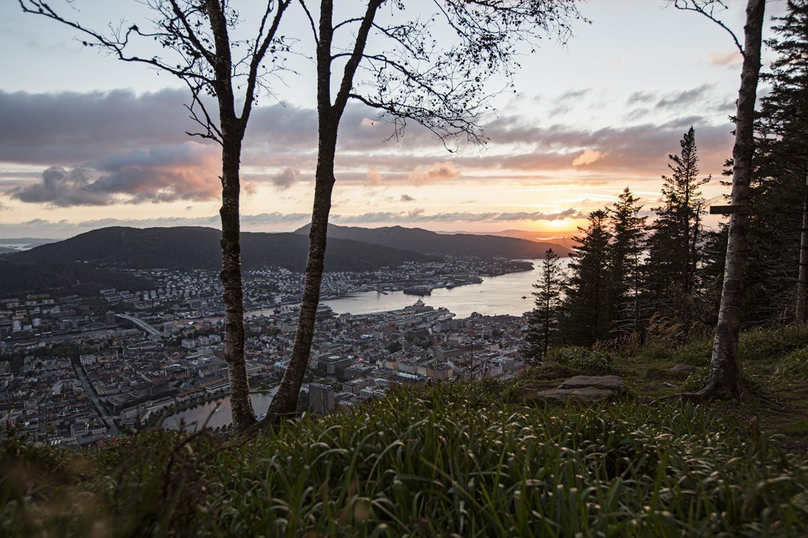 Sunset over Bergen, just off the beaten path - and away from the hundreds of other folks taking pictures of sunset.