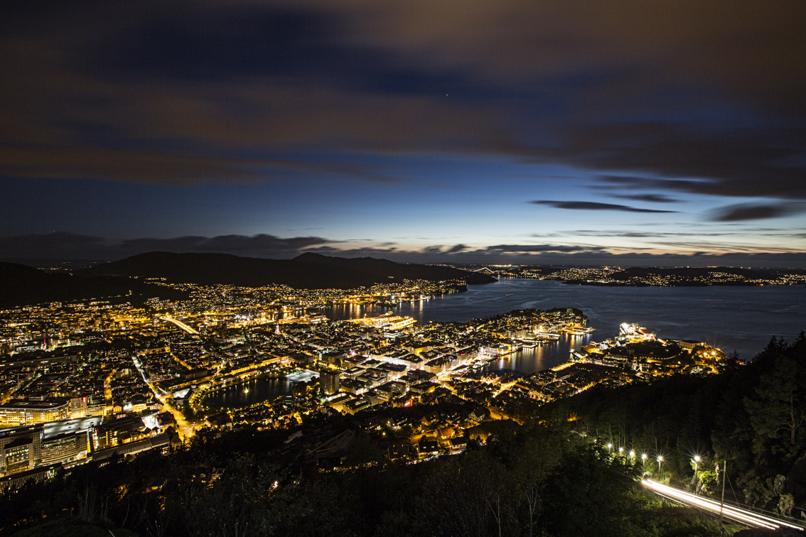 One last shot of Bergen at dusk - the bright lights on the bottom right are from the tram, which carries people up mountain from the city below.