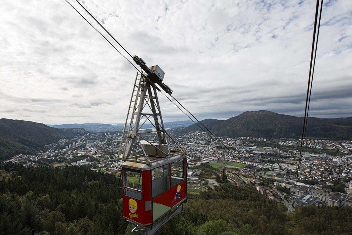 The Ulriken cable car - Bergen below.