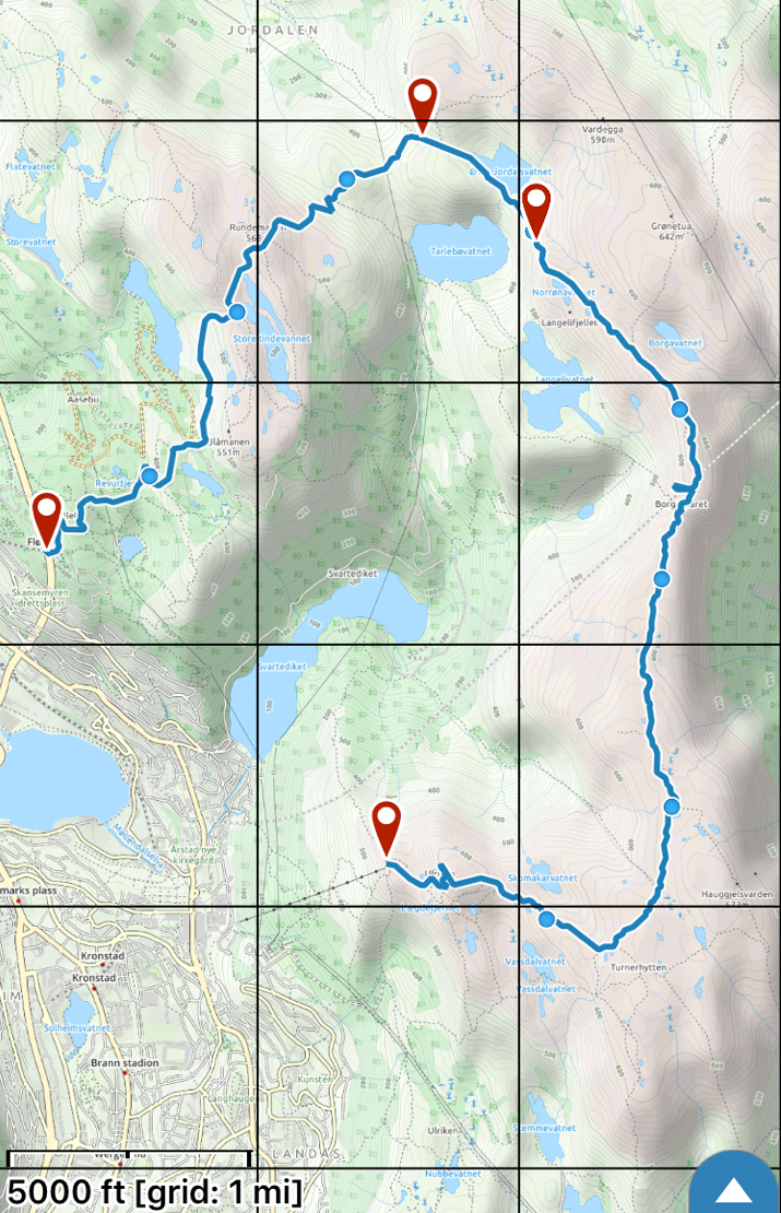 Our route, which was 8.7 miles and took us 6.5 hours from start to finish. It was a long day.