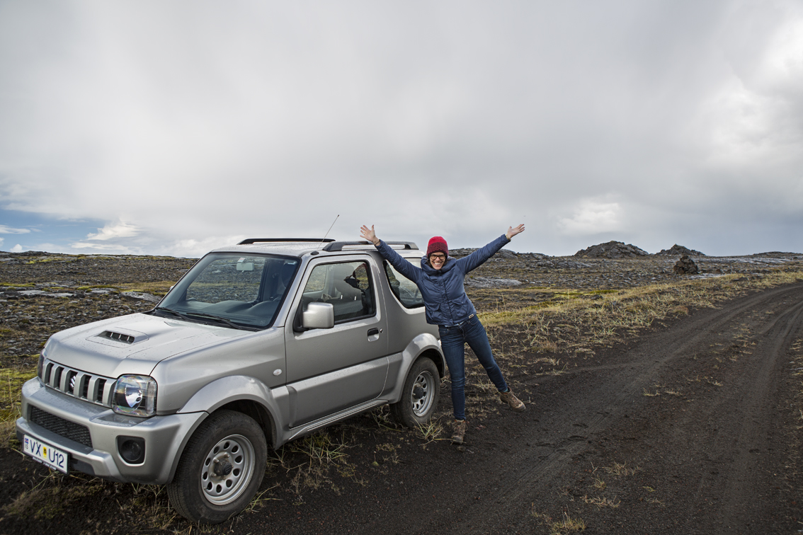 Sloane and our awesome little Suzuki Jimny.  This car was pretty capable, but honestly - of all the places we went - this was the only one we even came close to needing high clearance or 4 wheel drive - but we did use them both immediately on this side trip.