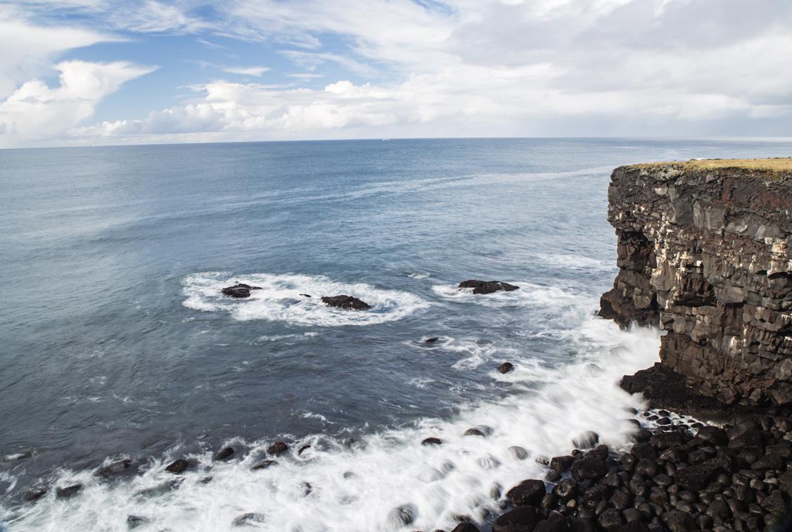 Long exposure at the Hafnarberg Sea Cliffs.