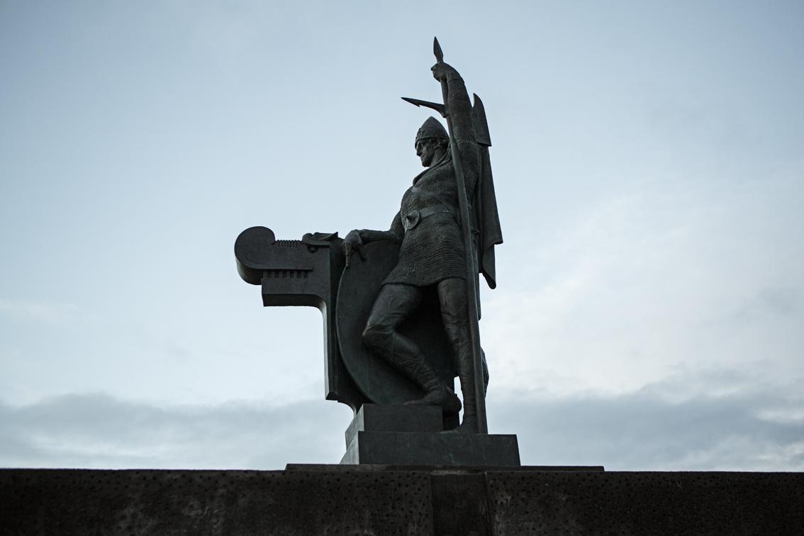 A statue of Ingólfur Arnarson, the first settler in Reykjavik at Arnarhóll Hill.