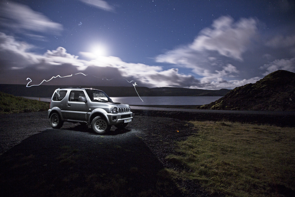 Waiting for the Aurora to show up a lake Kleifarvatn.
