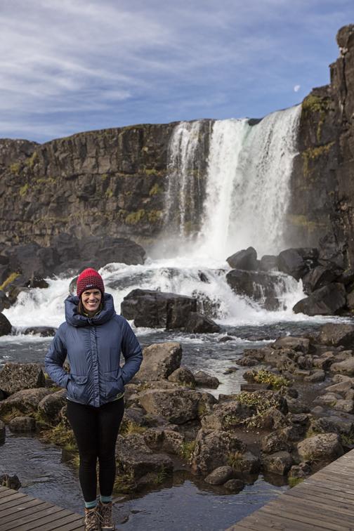 Sloane at Oxarofoss waterfall in  Þingvellir National Park .