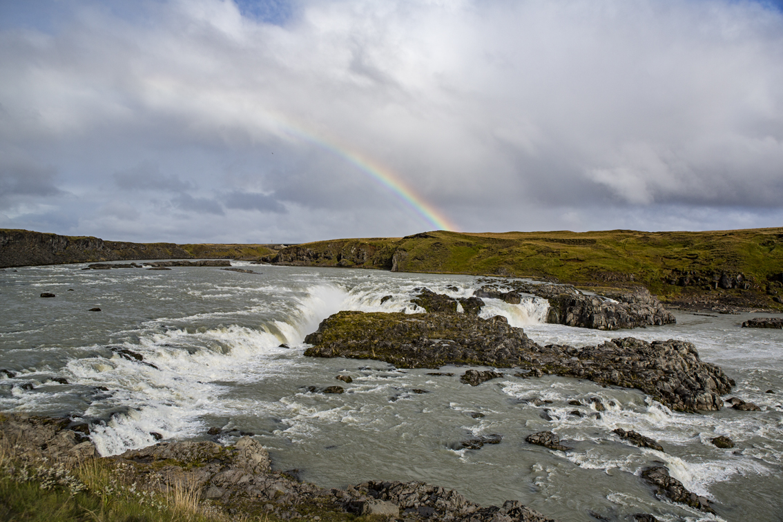 Uridafoss, a lesser visited waterfall on the ring road, and of course a rainbow.