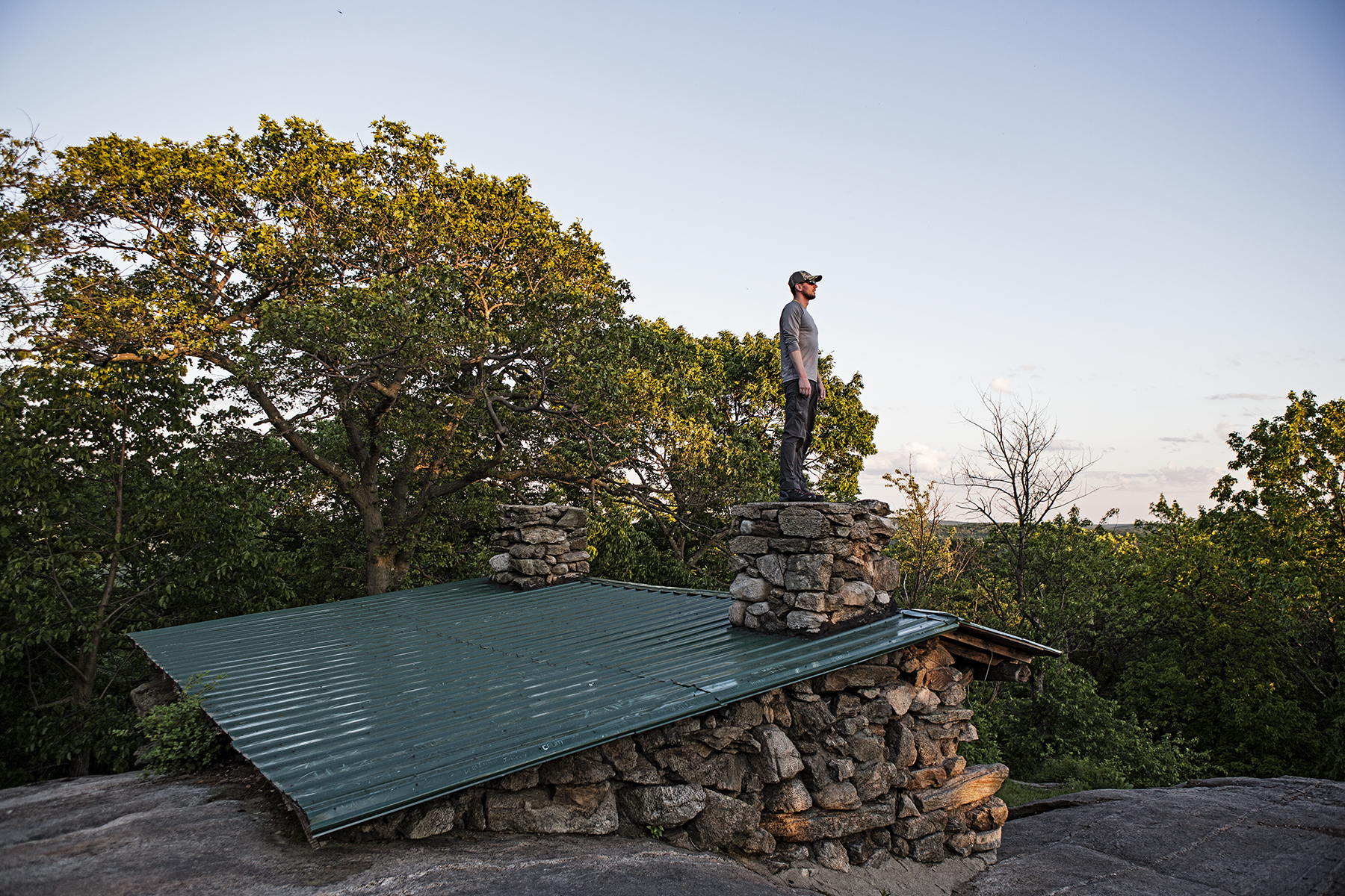 Frank on the chimney of the Stockbridge shelter, getting the best view.