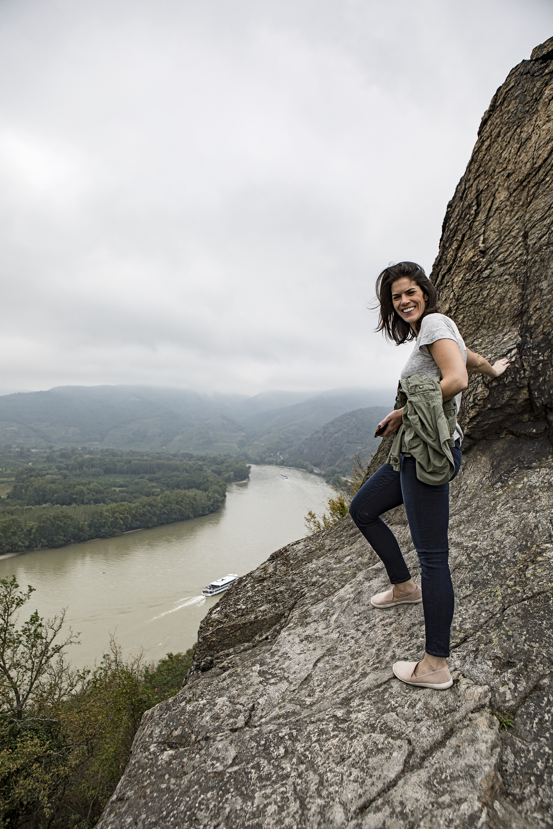 Sloane overlooking the Danube from the base of Durnstein Castle.