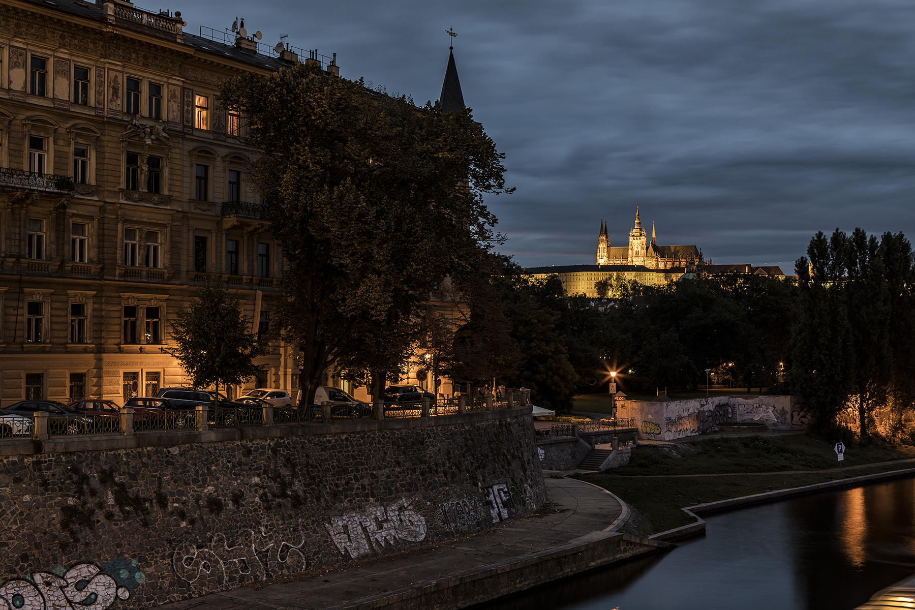 Prague Castle lit up for the night.