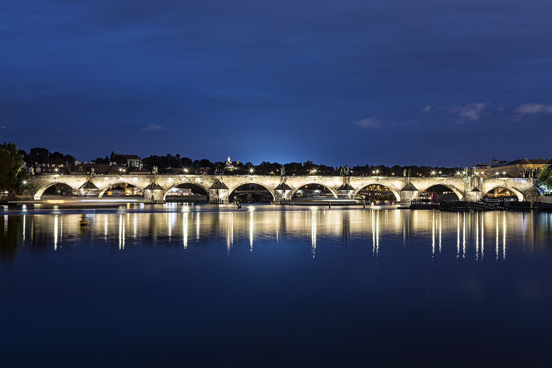 Charles Bridge at dusk.