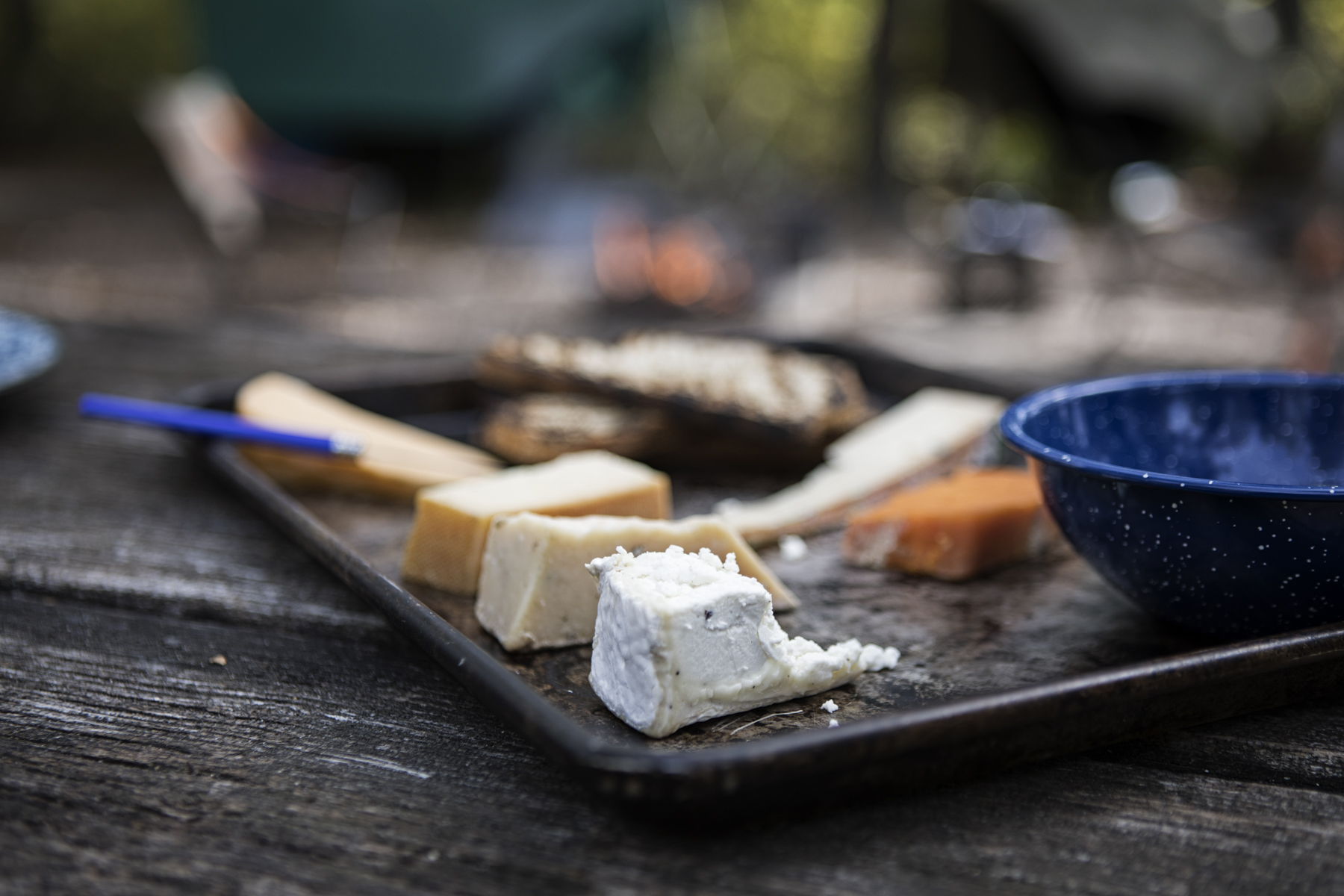 Fireside cheese plate.