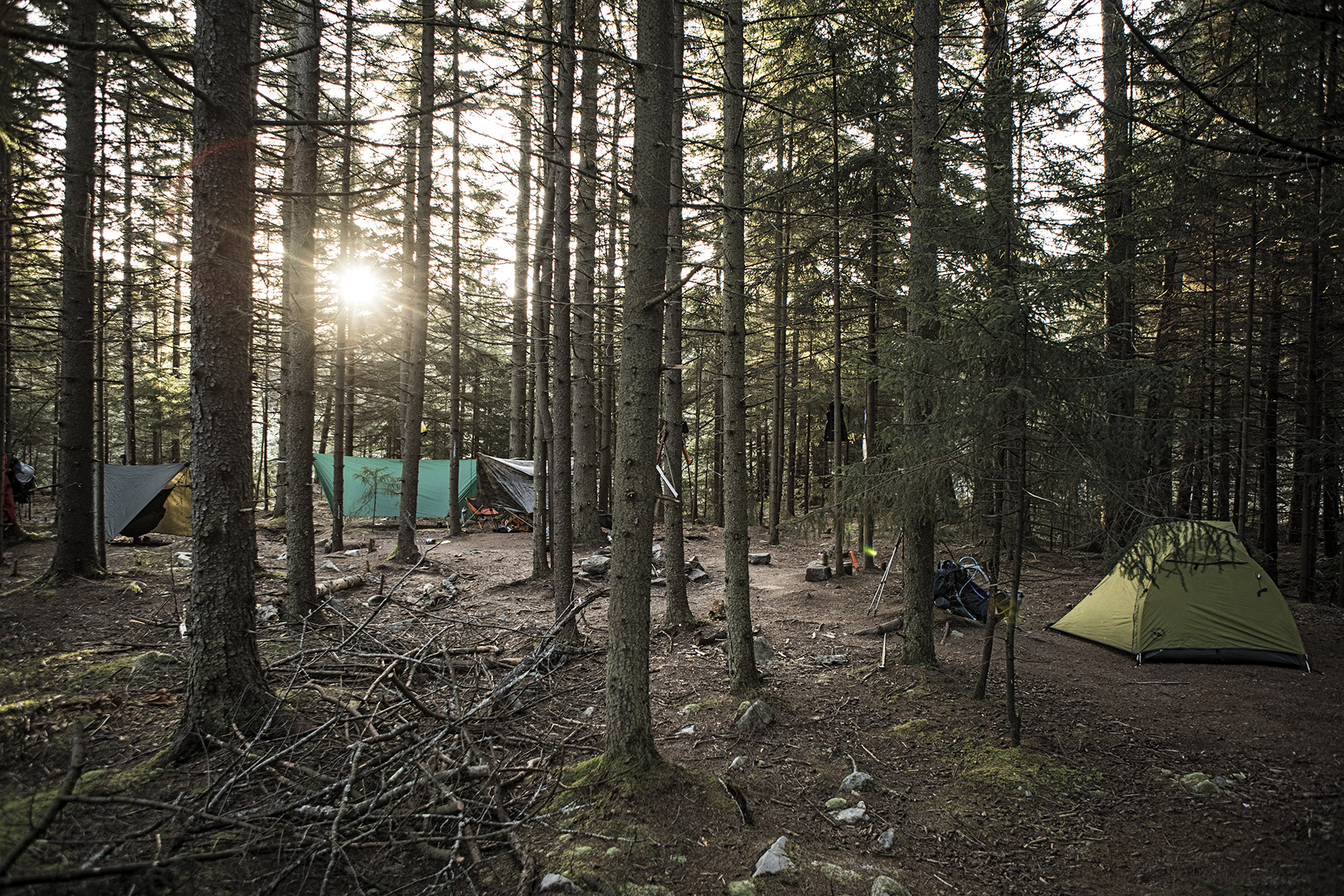 Sun rises on our frozen camp. It looks so inviting for 10 degrees.