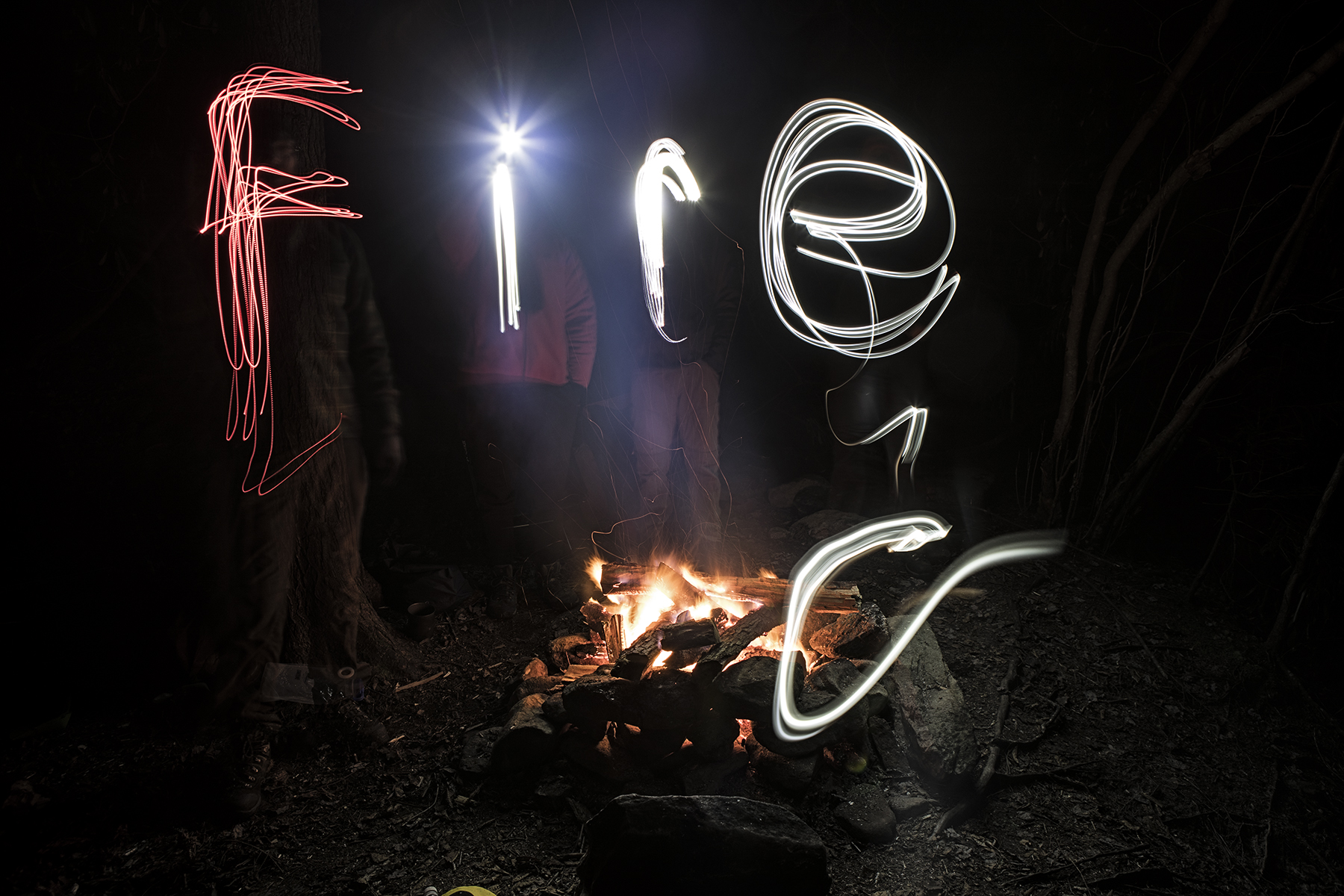 Late night light painting by the fire.