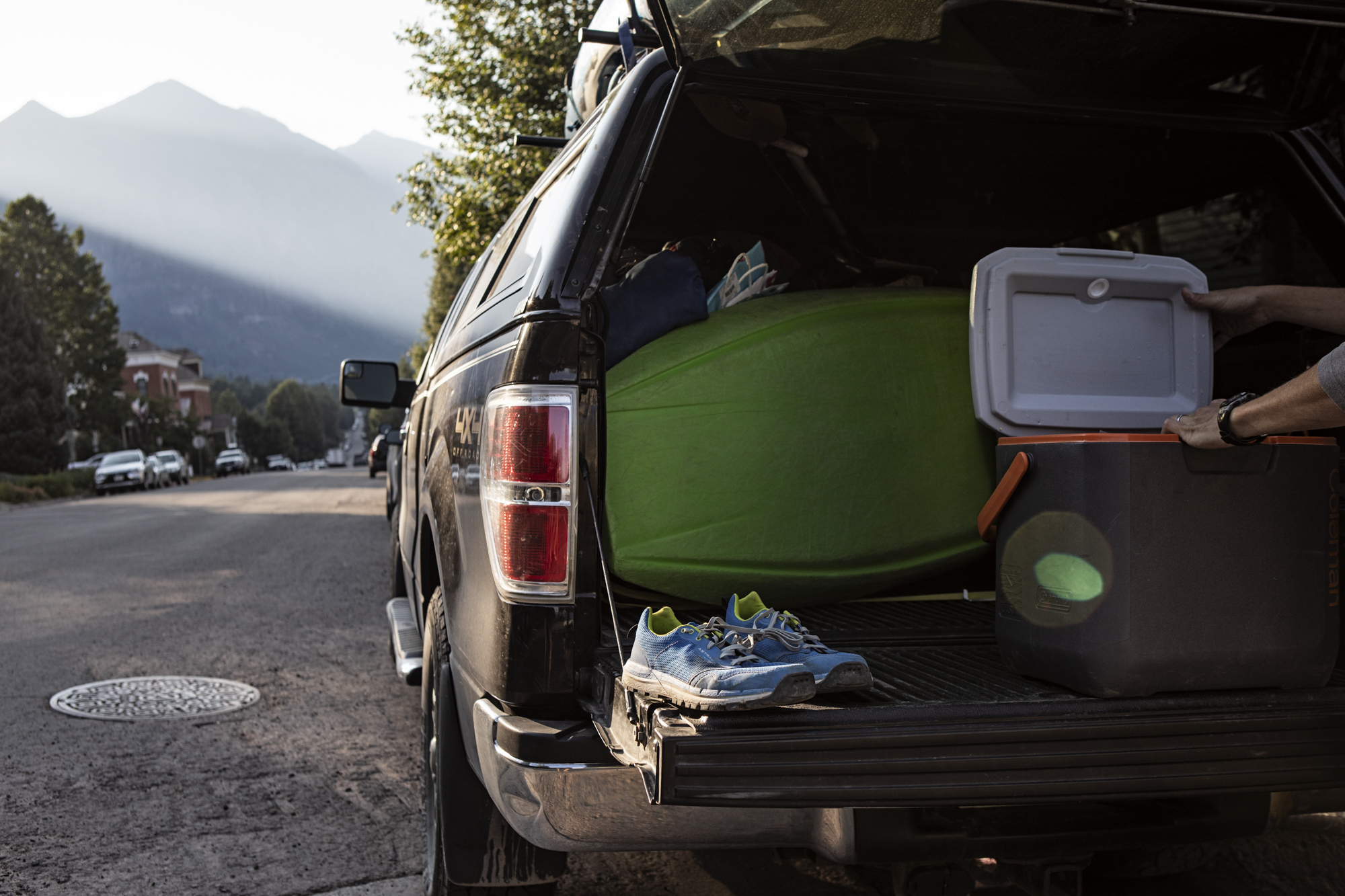 First light on the streets of Telluride, packing our gear once again.