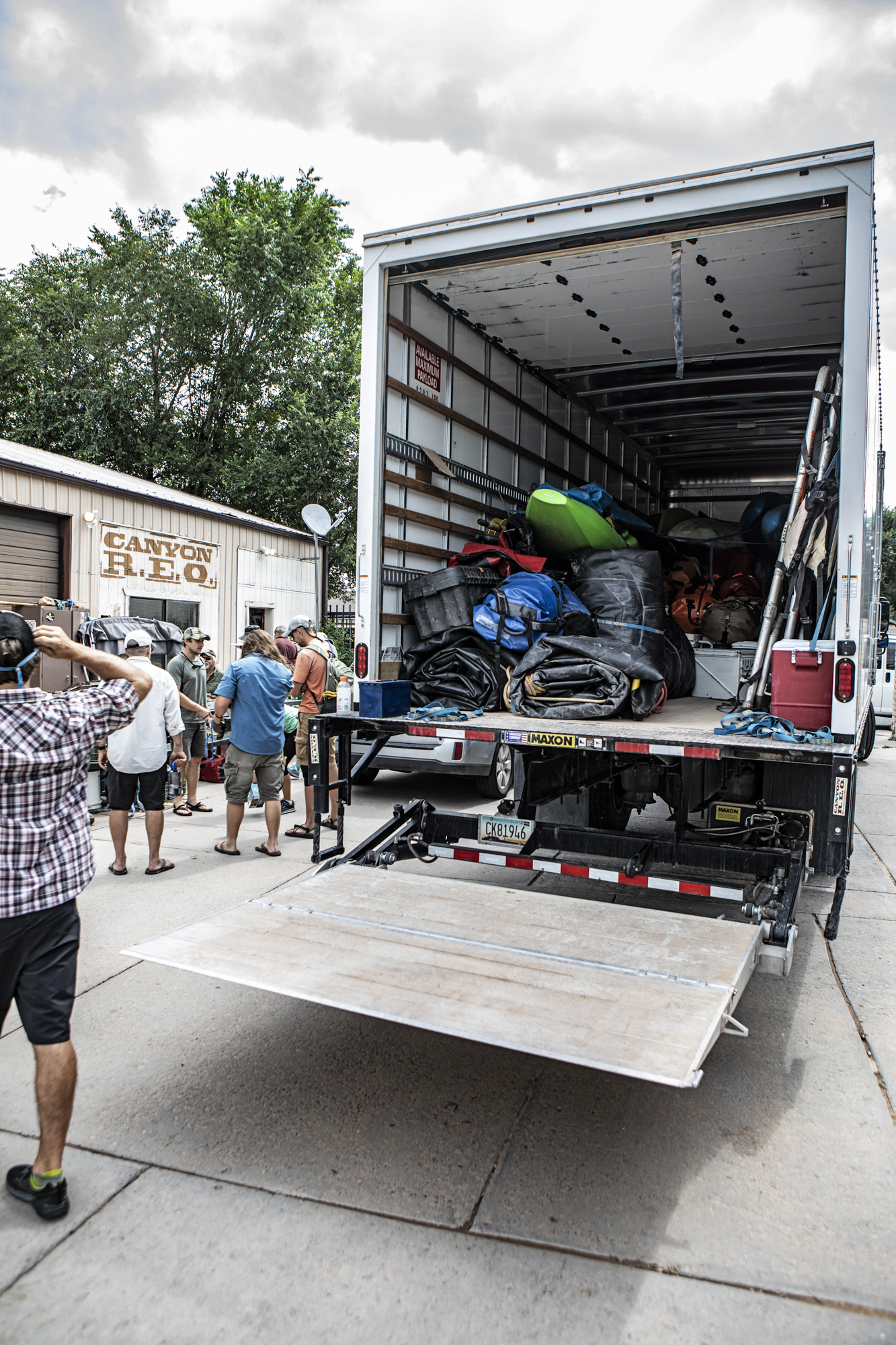 Our gear loaded in the box truck at the warehouse.