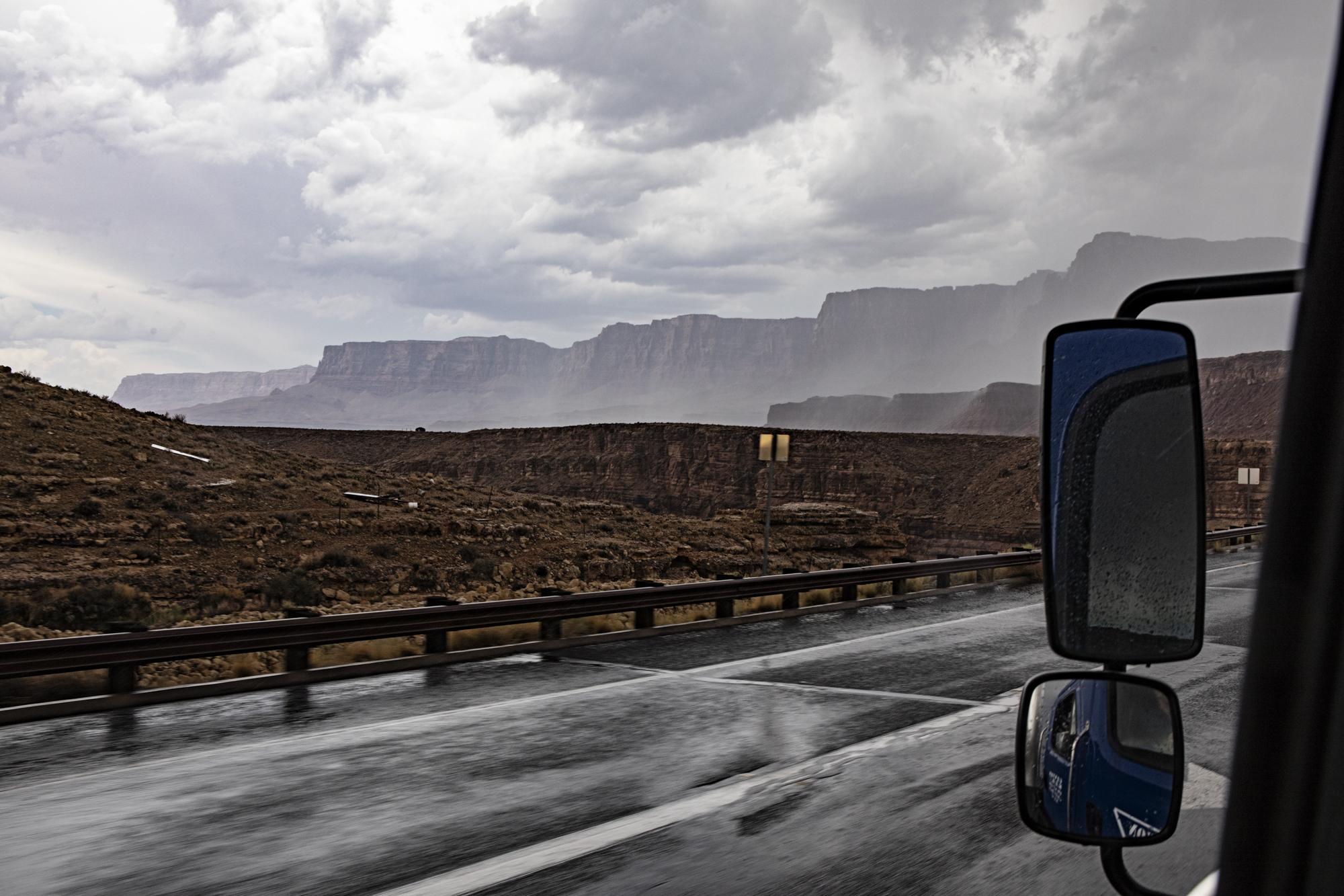 Rains falling across the canyon.