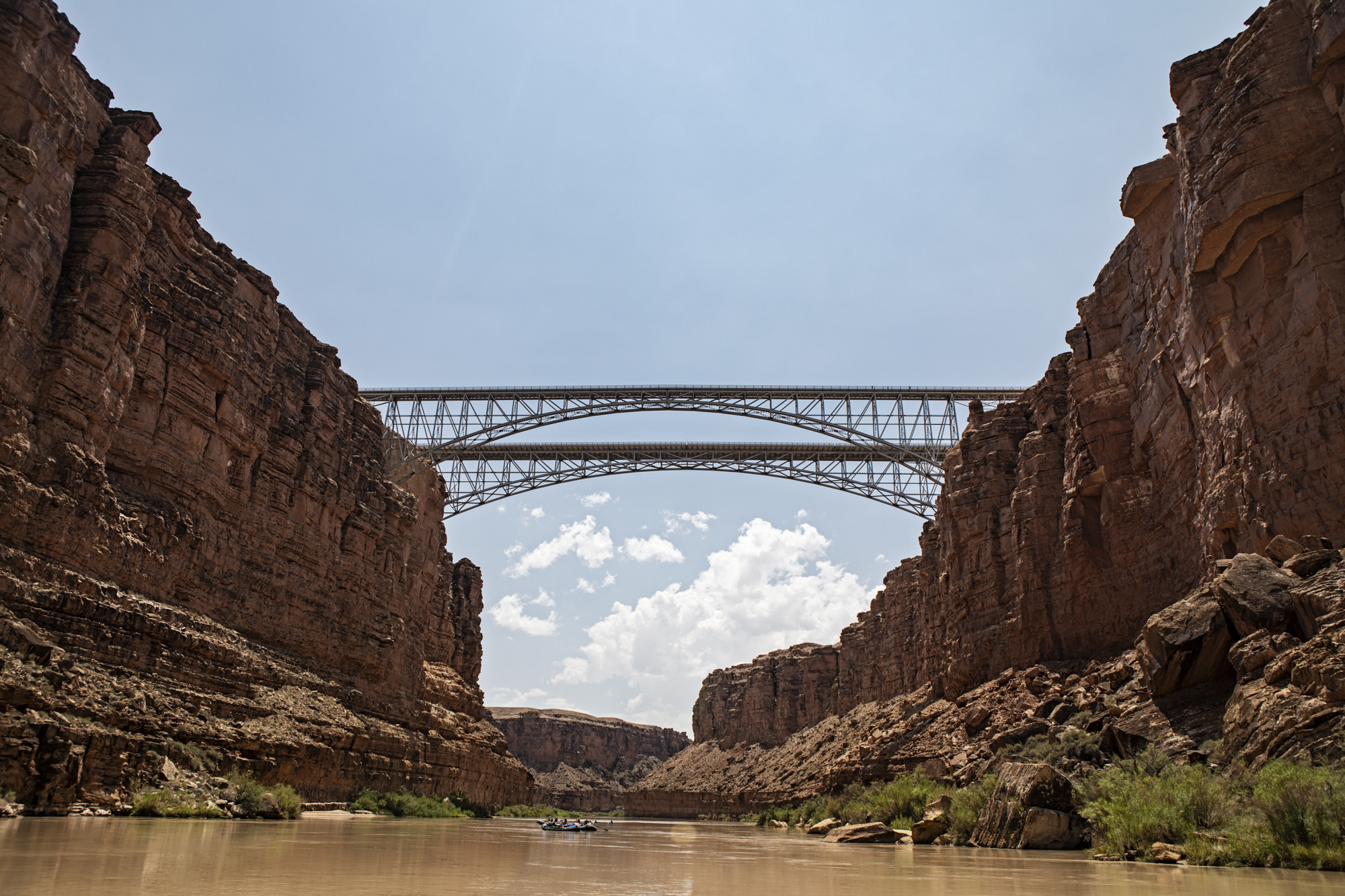 Navajo bridge, mile 4.5, from below, this is where we pulled over to see the chocolate waterfalls the previous day.