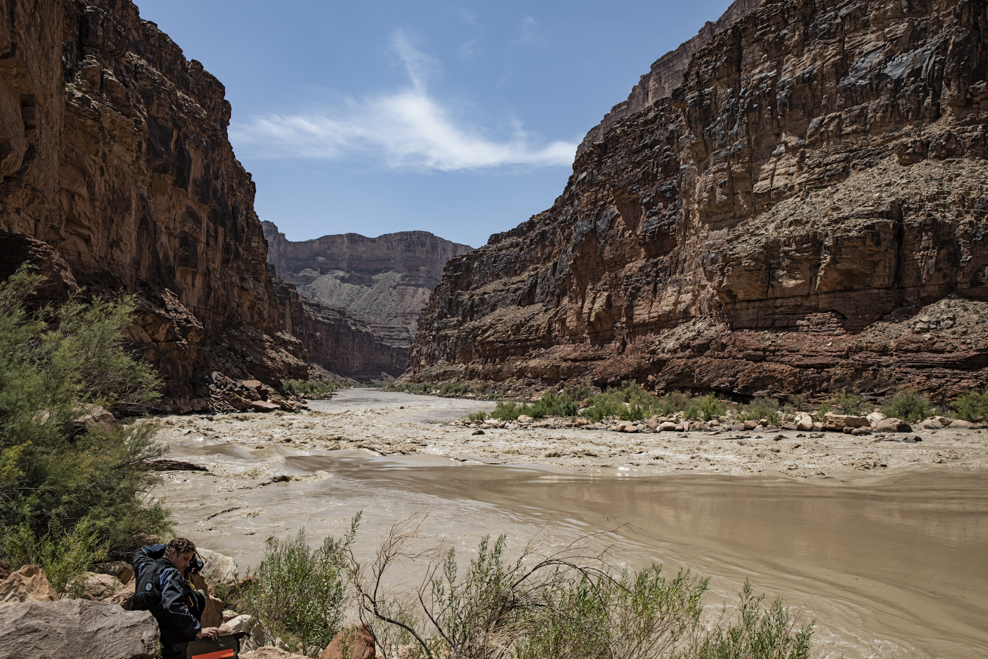 """Scouting house rock rapid, our first """"significant"""" rapid of the trip"""