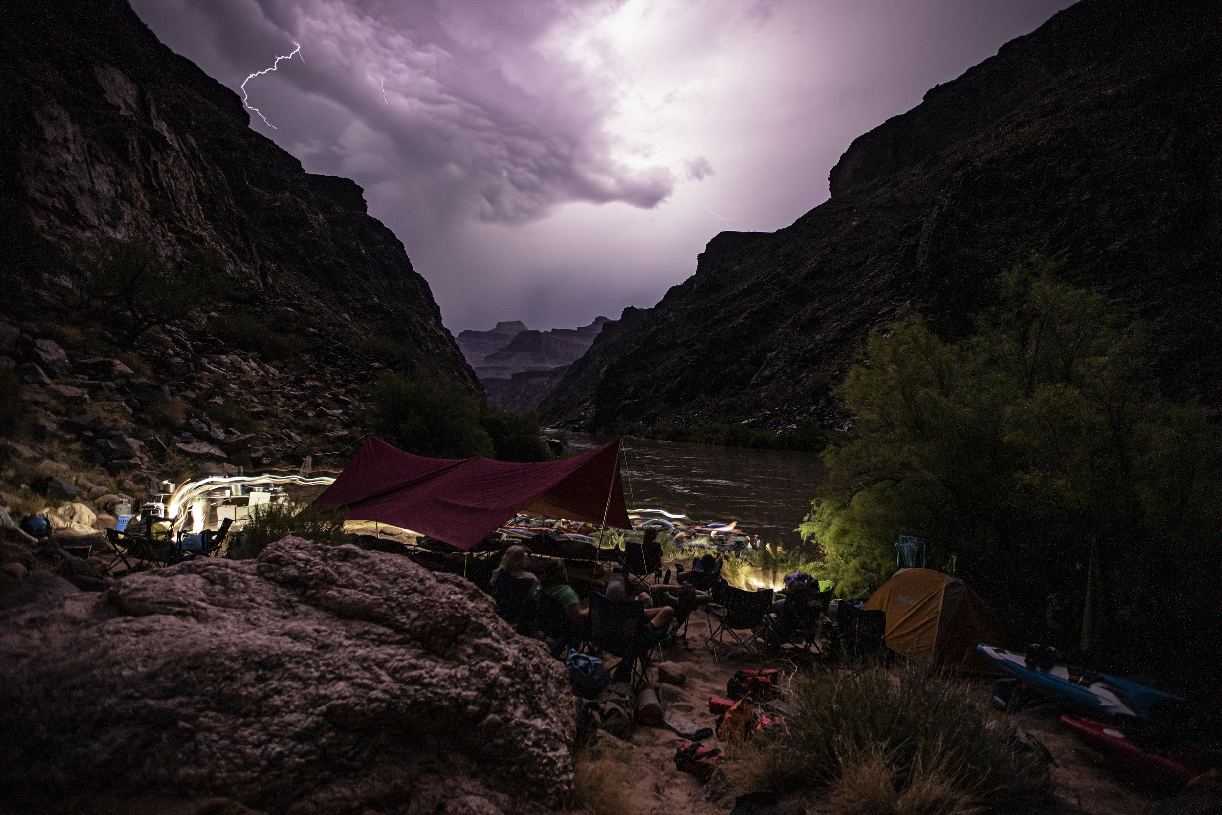Evening lightning show at camp.