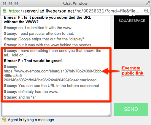 Example of using an Evernote public link in a live chat with tech support