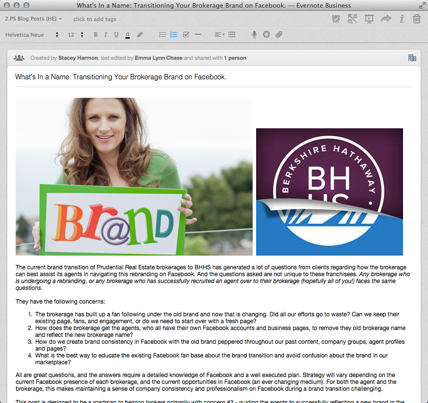 Blog post draft in Evernote with text, featured image, and post images