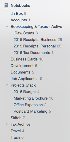 notebook list example: sorts alphabetically on the left hand panel of the desktop app
