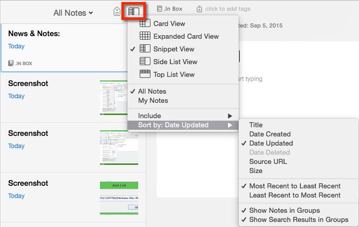 Mac Interface Sort Options