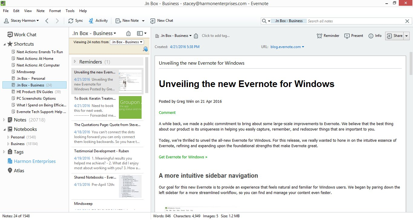 Evernote for windows 5