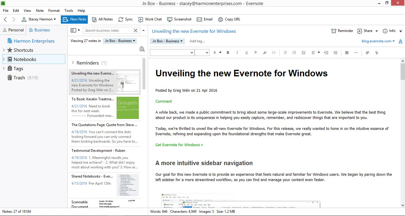EVERNOTE FOR WINDOWS 6