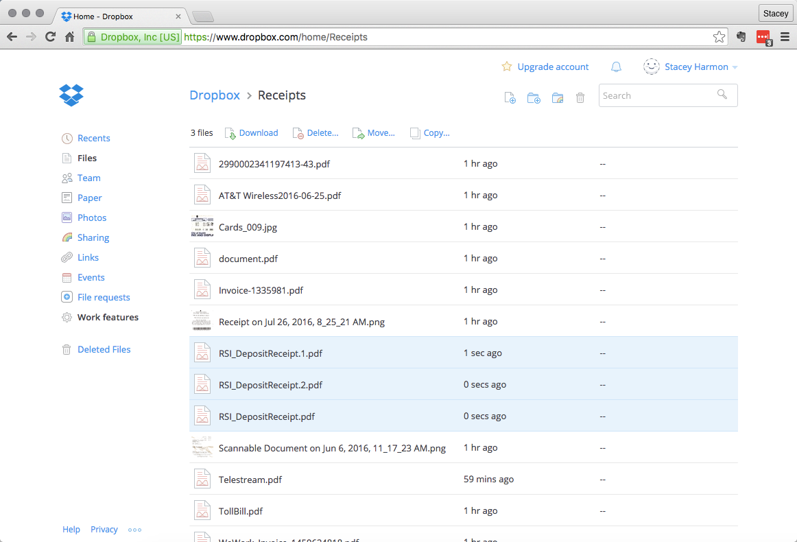 Dropbox stores each document as a separate file