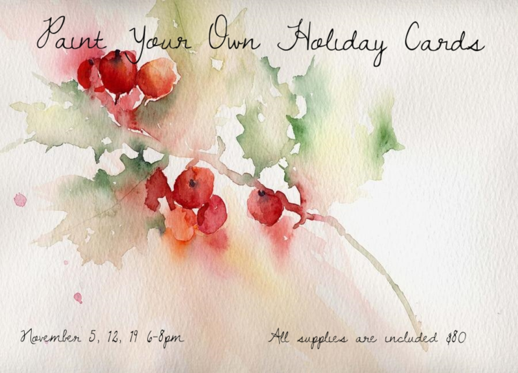 Join Kateri for two hour sessions 6-8pm on Wednesday evenings, November 5, 12 & 19 to paint a set of holiday cards. We will learn how to prepare the paper for cards and paint a series of holly, mistletoe and snowy pine branches to decorate them. All materials are supplied. $80.00 for the series of three classes. We will need a minimum of three students to hold the classes. Please register with Vanessa at MUSEjar, 655-1015.