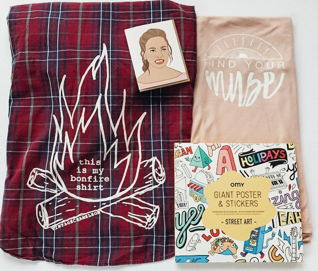 Vintage Chameleon flannel, Find Your Muse shirt, Omy coloring poster, and Chrissy Teigan greeting card