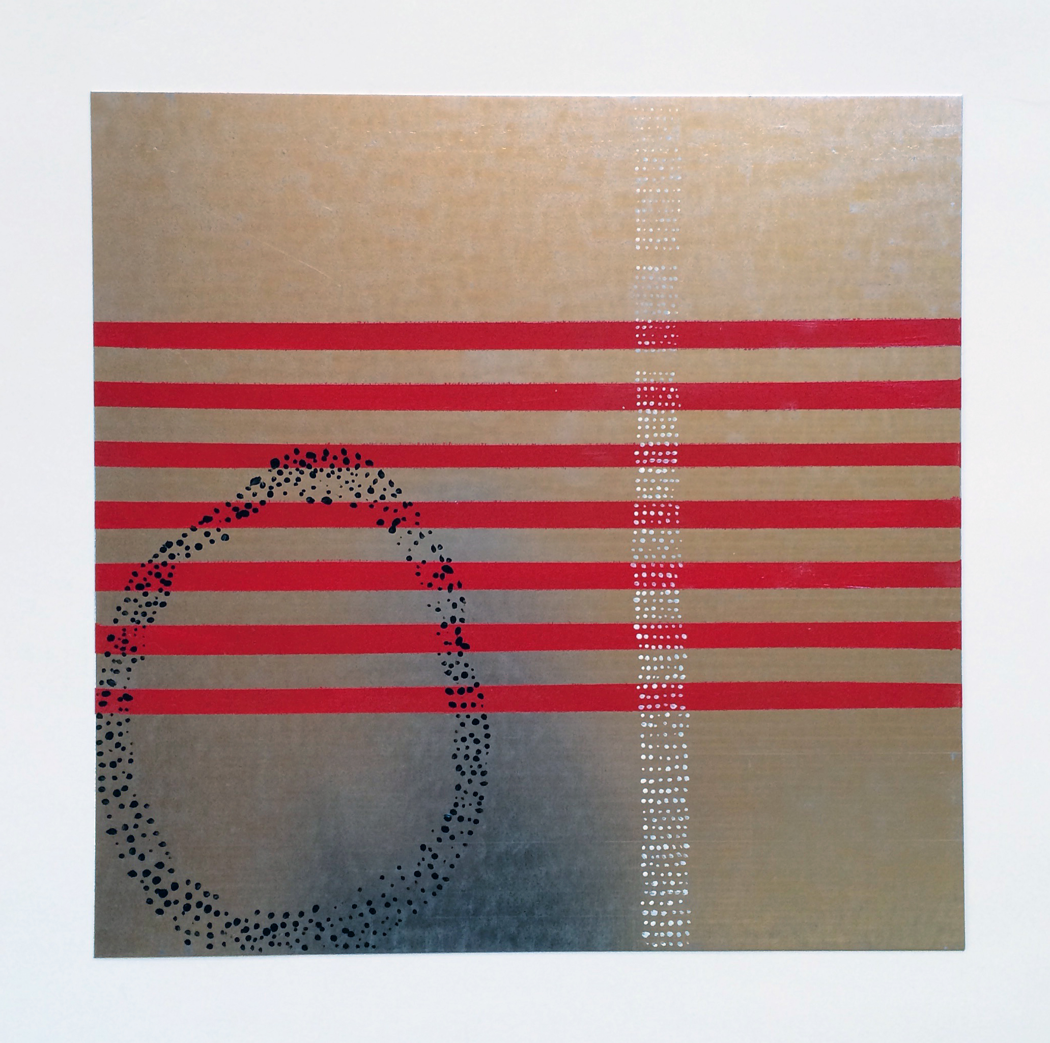abstract on sheet metal | acrylic | 12x12 in