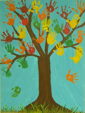 The students in the Forest Room created a masterpiece with handprints. Using a large artist's canvas and paint in beautiful fall colors, they worked as a class to create this beautiful scene.  This work of art, as well as other creative pieces, are on display in our school's foyer.
