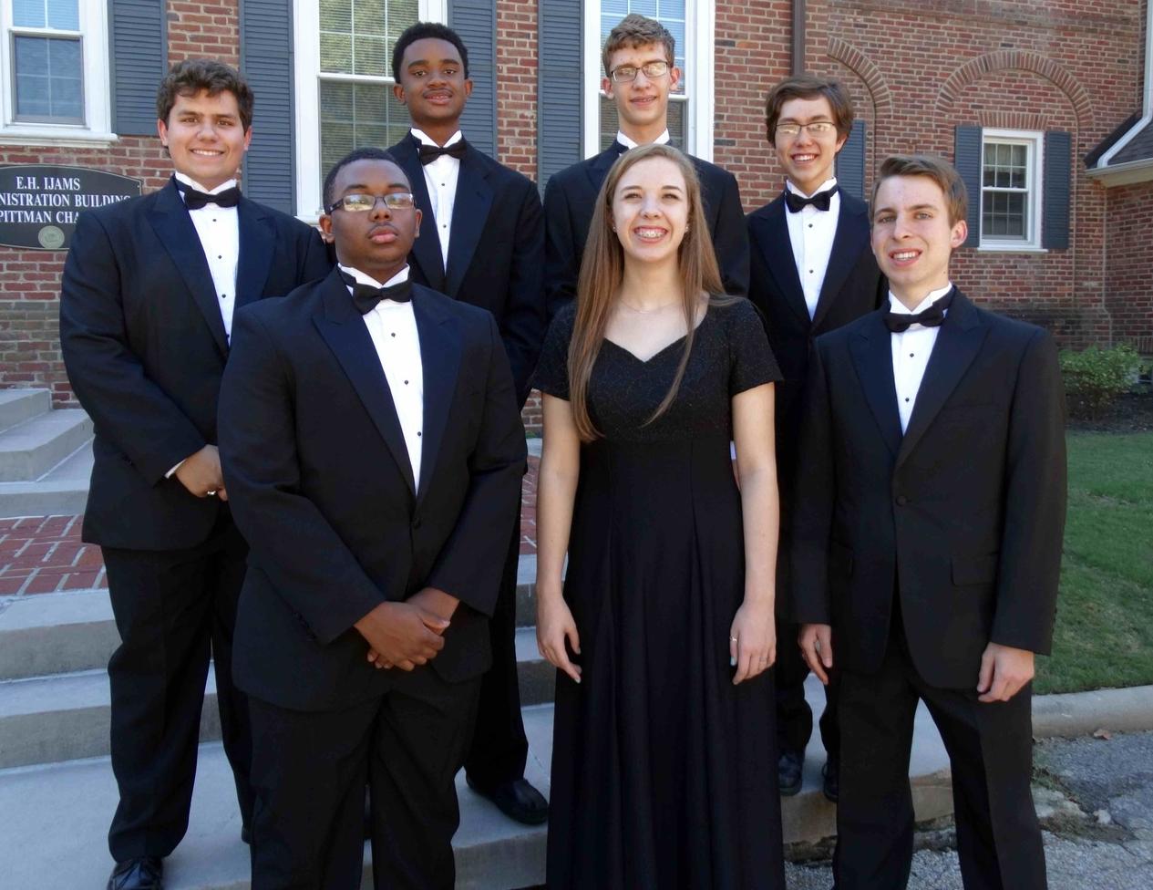 All Southwest Senior High  Front row L-R: Jordyn McNeil (11) - Tenor 2, 14th chair; Cameron Donlin (9) - Soprano 2, 19th chair; Zach Riedel (12) - Tenor 2, 22nd chair Back row L-R: John Shanklin (12) - Bass 1, 16th chair; Julian Isabel (10) - Bass 2, 20th chair; Wilson Hughes (11) - Bass 2, 21st chair; Caleb Cranford (11) - Bass 1, 7th chair