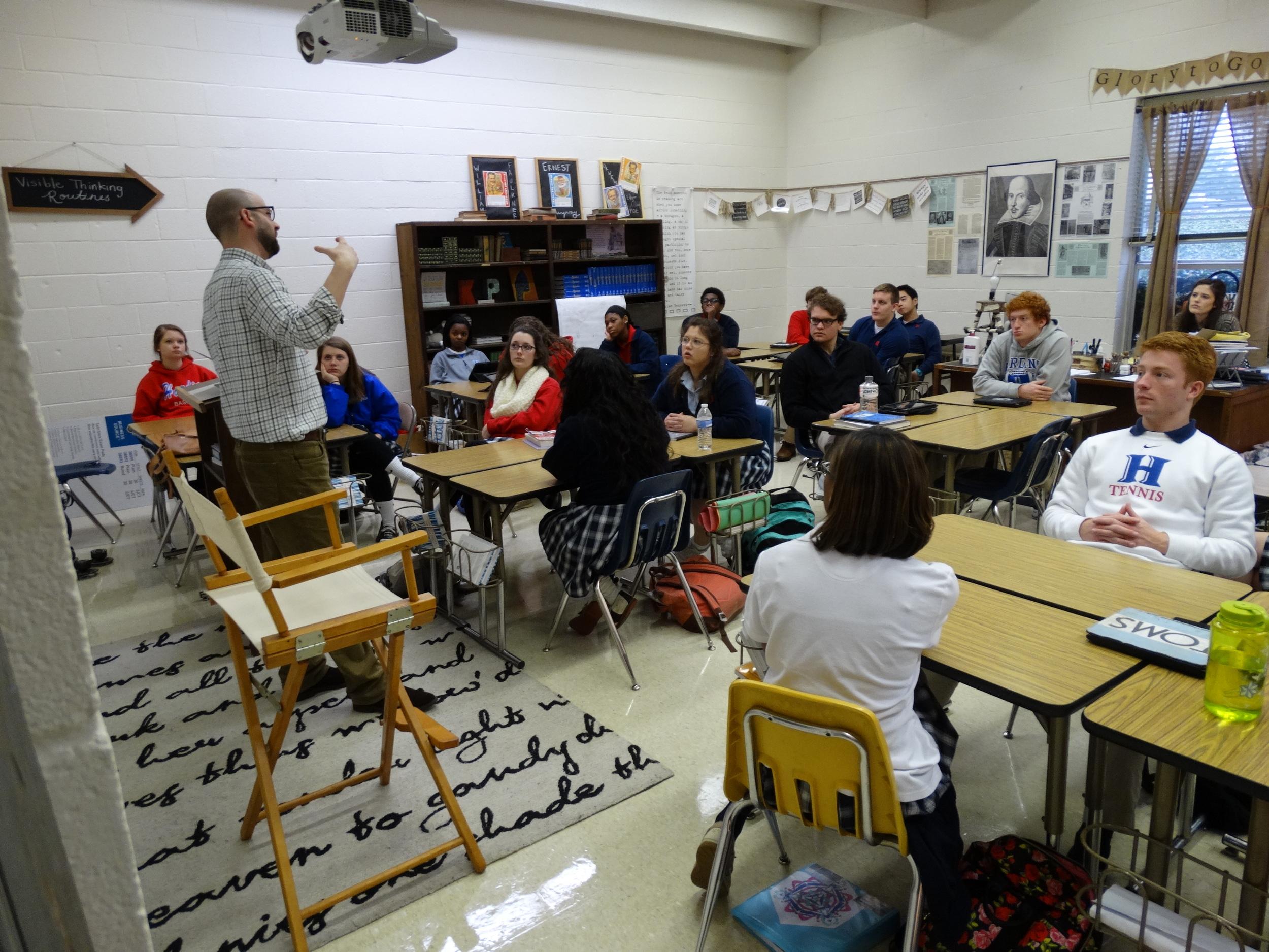 Sam speaks to Mrs. Pharr's creative writing class during third period.