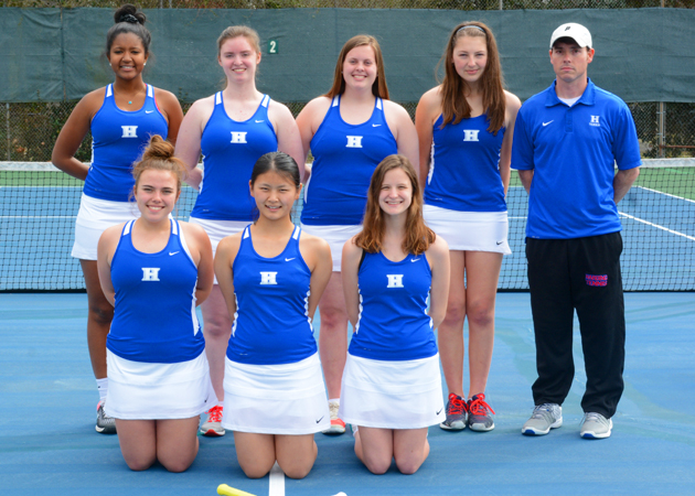 Front: L-R: Caroline Sisson, Roxanne Xue, Kate Galloway Back : L-R: Nya Bolton, Rachel Mihalko, Kathleen Reed, Brooke Powell and Coach Jonathan Murphy Not pictured: Brianna Willis, Courtney Brown, and Emily Sanders