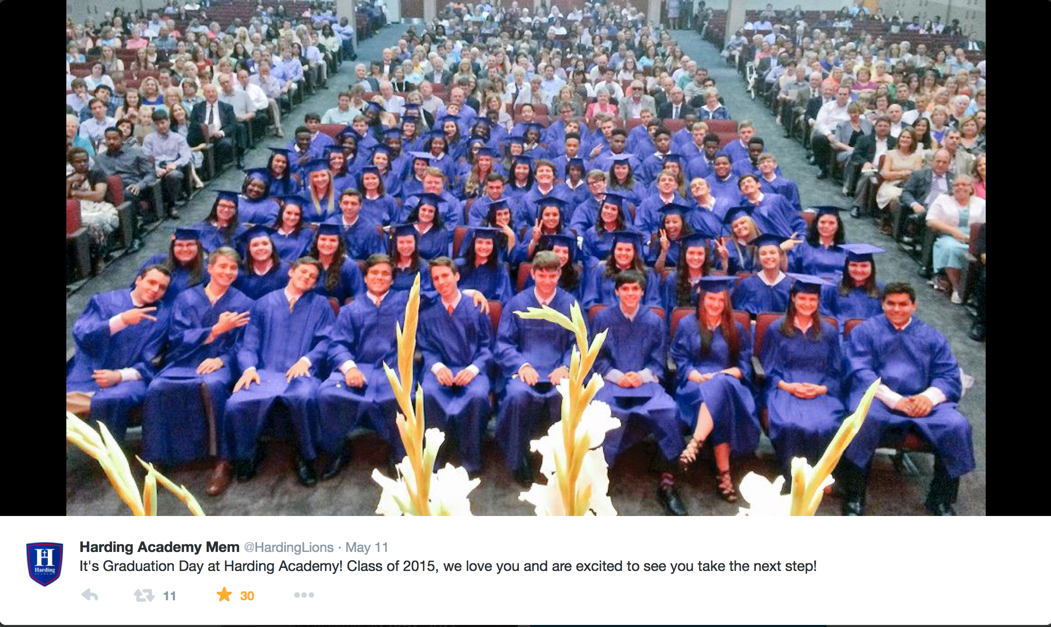 Photo taken by Seth King as he ended his address to the Senior Class of 2015 at Baccalaureate.