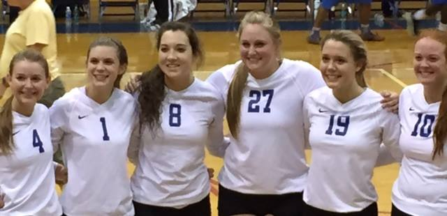 October 8- Proud of these six seniors! They played the last set together and won their first regional game. (photo credit: David Jordan)