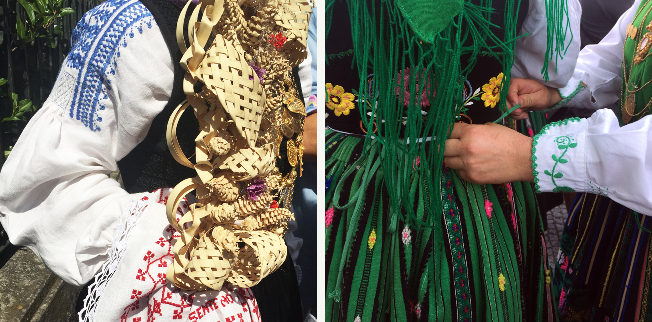 "Details of women preparing to walk in the Mordomias parade, August 2018. Left: Woman carrying an Easter ""palmitos,"" optional workshop offering."