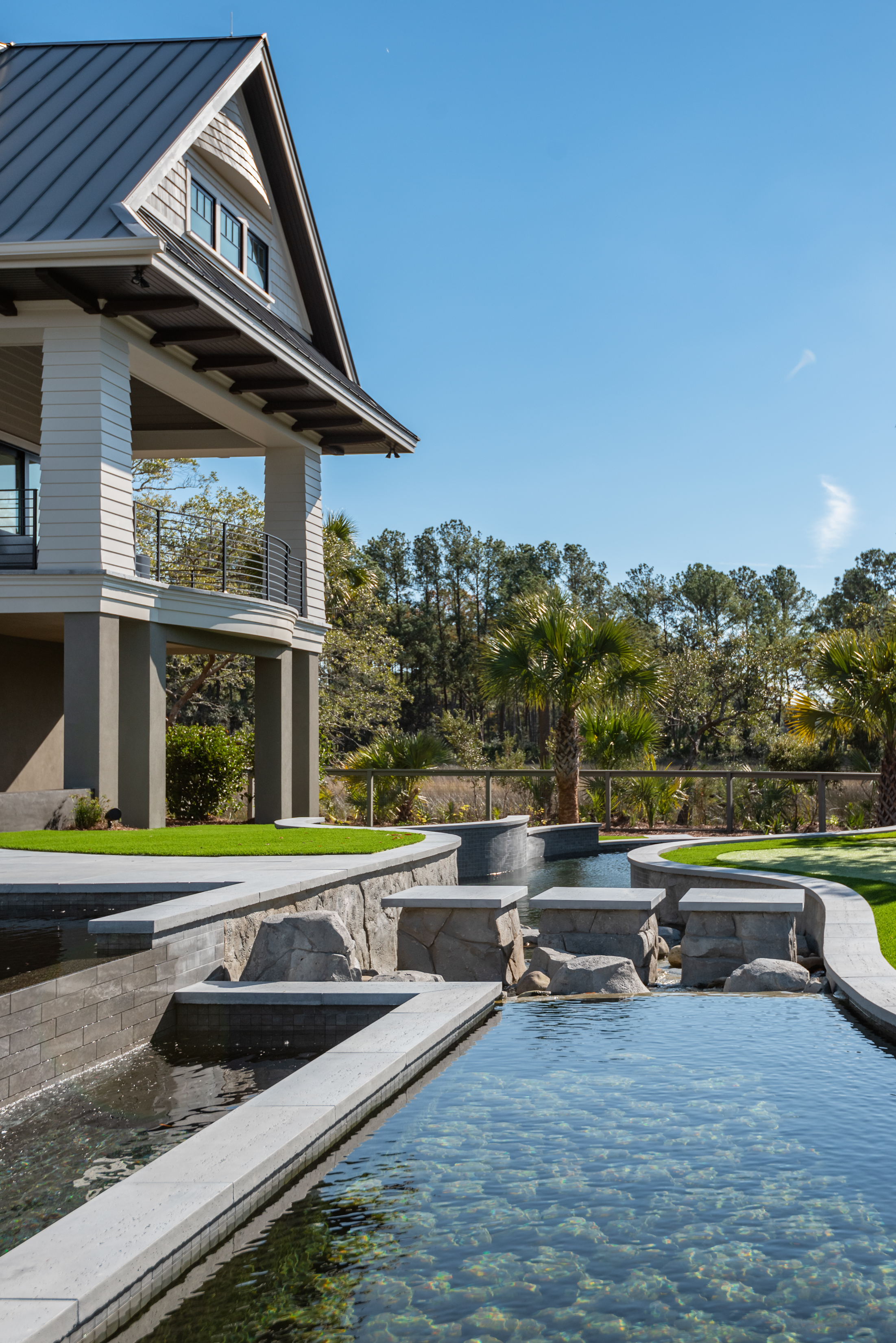 koi pond and outdoor space