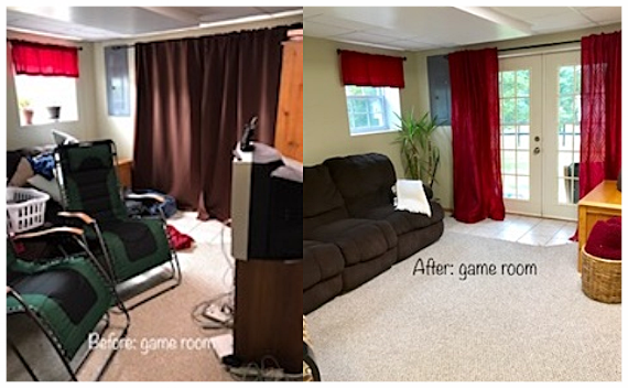 Client Game / Family Room before & AFTER staging.